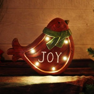 "10"" Christmas Bird Light Up Statue Decor"