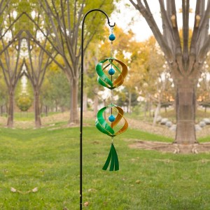 """40"""" Green and Yellow Metal Wind Spinner with Shepherd Hook"""