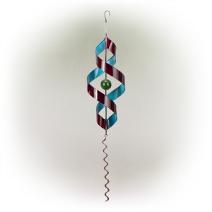 """34"""" Red and Blue Swirl Metal Decor with Red Tail"""