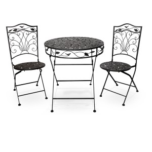 Metal Leaf Bistro Set (1 Table and 2 Chairs)