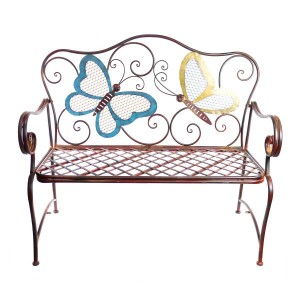 Metal Colorful Butterflies Bench