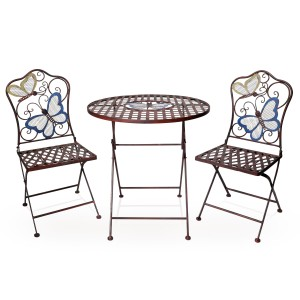 Metal Colorful Butterflies Bistro Set