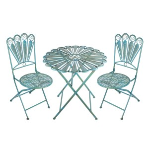 "36"" Light Blue Feathered Peacock Bistro Set with Rustic Finish"