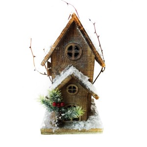 """11"""" Christmas Wooden Birdhouse with 10 LED Lights"""