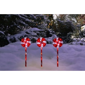 "28"" Candy Cane Pathway Red and White LED Lights"