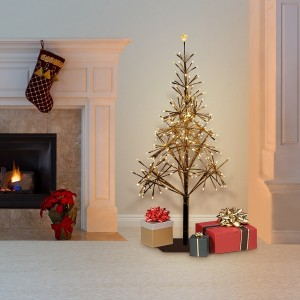 "53"" Festive Golden Christmas Tree with Warm White LED Lights"