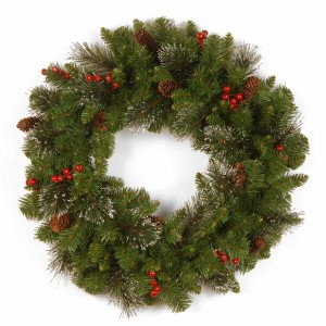 "24"" Crestwood Spruce Wreath w/ Bristle and Glitter"