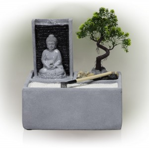 "13"" Buddha Bonsai Garden Tabletop Fountain with LED Light"