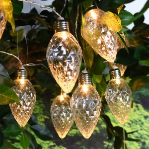 Faceted Clear Decorative String Lights w/10 LED Bulbs