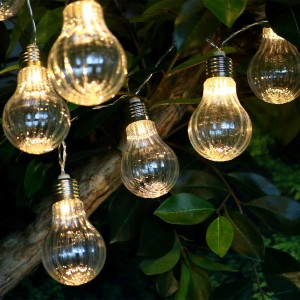 Clear Textured Edison String Lights w/10 LED Bulbs