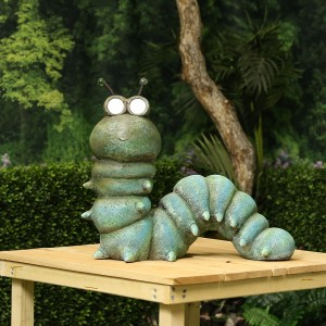 "16"" Solar Caterpillar Garden Statue with LED Lights"