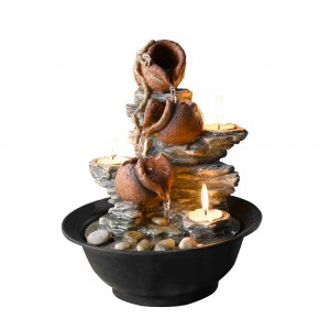 """10"""" Tavolo Luci Mini Pot Tabletop Fountain with Candle"""
