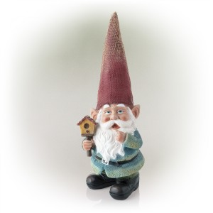 "15"" Red Hat Gnome Garden Statue with Birdhouse on Hand"