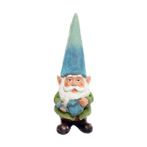 "15"" Blue Hat Gnome Garden Statue with Blue Water Can on Hand"