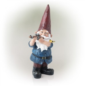 "12"" Hunting Blue Shirt Garden Gnome Statue"