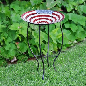 "27"" American Flag Mosaic Glass Birdbath with Metal Stand"