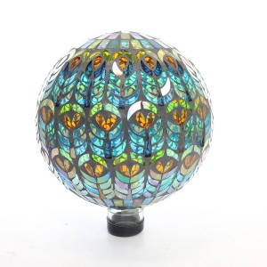 "12"" Mesmerizing Mosaic Gazing Globe with Peacock Feather Pattern"