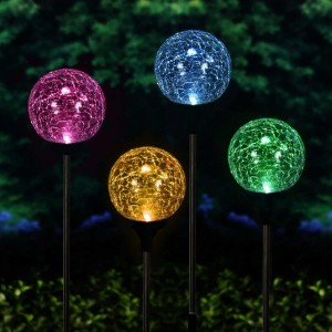 "33"" Solar Crackle Ball w/Color Changing LED Stake"