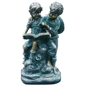 "16"" Tall Girl and Boy Reading Together Statue"