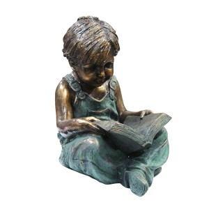 "19"" Tall Boy Sitting Down Reading Book Statue"