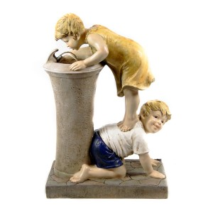 "27"" Boy and Girl Drinking Water from Fountain with LED Light"