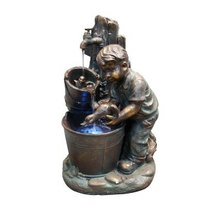 "27"" Tall Boy Washing Duck Fountain with LED Light"