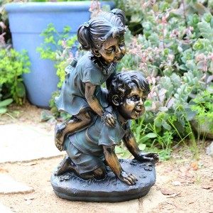"18"" Girl and Boy Playing Statue"