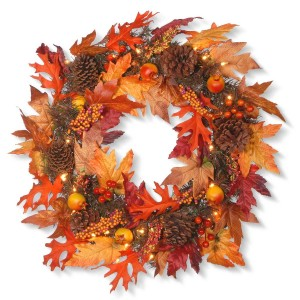 "24"" Harvest Maple Leaf Wreath w/ 35 Clear Lights"