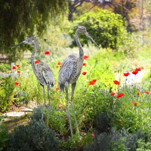 "56"" Outdoor Metallic Demoiselle Crane Décor"