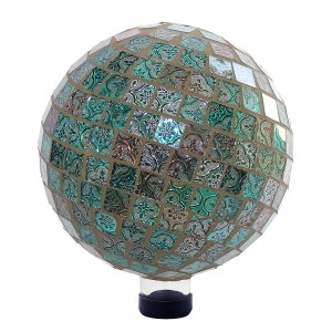 Turquoise and Grey Mosaic Gazing Globe