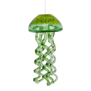 "12"" Handmade Round Hanging Green Glass Jellyfish Windchimes"