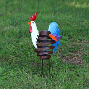 """15"""" Metal Swirl Rooster Décor"""