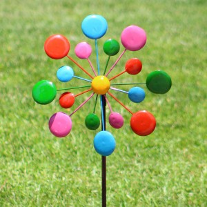 "54"" Multi-Color Metal Circles Windmill w/Stake & Fence Topper"