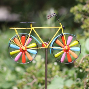 "42"" Metal Bicycle Wind Spinner Garden Stake"