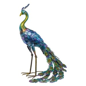 "27"" Metallic Peacock Outdoor Décor with Glossy Finish"