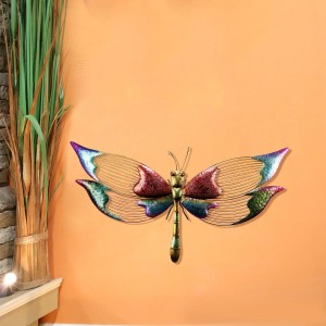 Dazzling Metallic Dragonfly Wall Décor with Glossy Finish