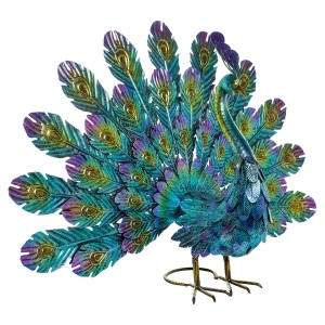 "22"" Metallic Feather-Spread Peacock Outdoor Décor"