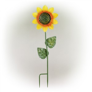 "64"" Spring Festive Blooming Metallic Sunflower Garden Stake"