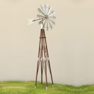 "101"" Metallic Kinetic Windmill Garden Stake with Rustic Finish"