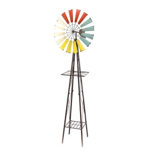 "92"" Tall Metal Windmill Garden Stand"