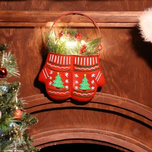 "10"" Christmas Hanging Metal Red Mittens Planter - LED Light"