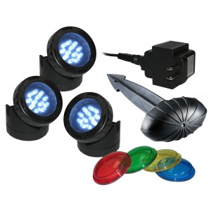 Set of 3 Alpine Pond & Landscape LED Light with Photocell & Transformer