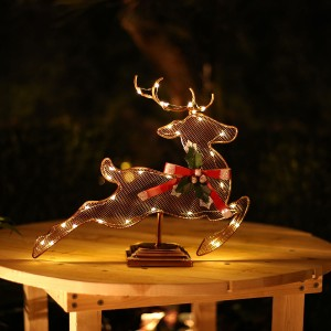 "11"" Christmas Reindeer Table Décor with White LED Light"