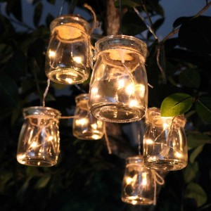 Clear Glass Jar Light Decor w/3 LED Lights- Set of 6
