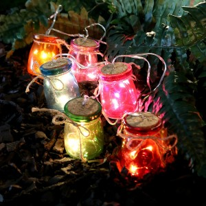 Multi Color Glass Jar Light Decor w/3 LED - Set of 6