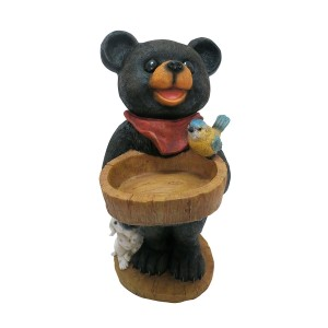"18"" Polyresin Bear Statue w/Decorative Birdfeeder"
