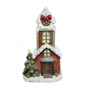 "18"" House Statuary with Color changing LED- TM"