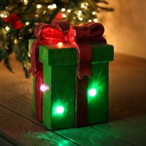 """13"""" Giftbox Statue with Color Changing LED Lights"""