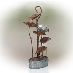 "45"" Metal Flamingo with flowers Tier Fountain"