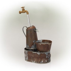 "34"" Rustic Invisible Flowing Spout Watering Can Fountain"